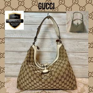 Gucci shoulder bag brown canvas hanbag leather